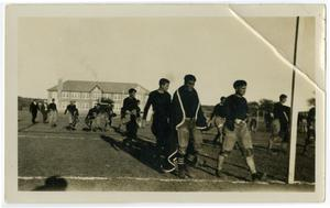Primary view of object titled '1925 Schreiner Football Game, Men Walking Off the Field'.