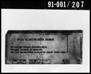 Primary view of object titled 'Notice Document Removed from Oswald's Home'.