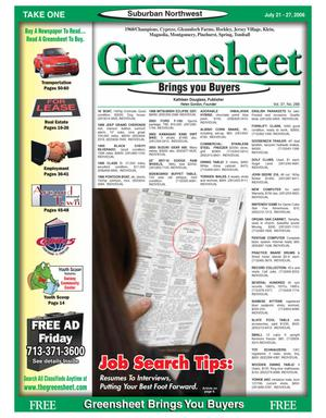 Primary view of object titled 'Greensheet (Houston, Tex.), Vol. 37, No. 288, Ed. 1 Friday, July 21, 2006'.
