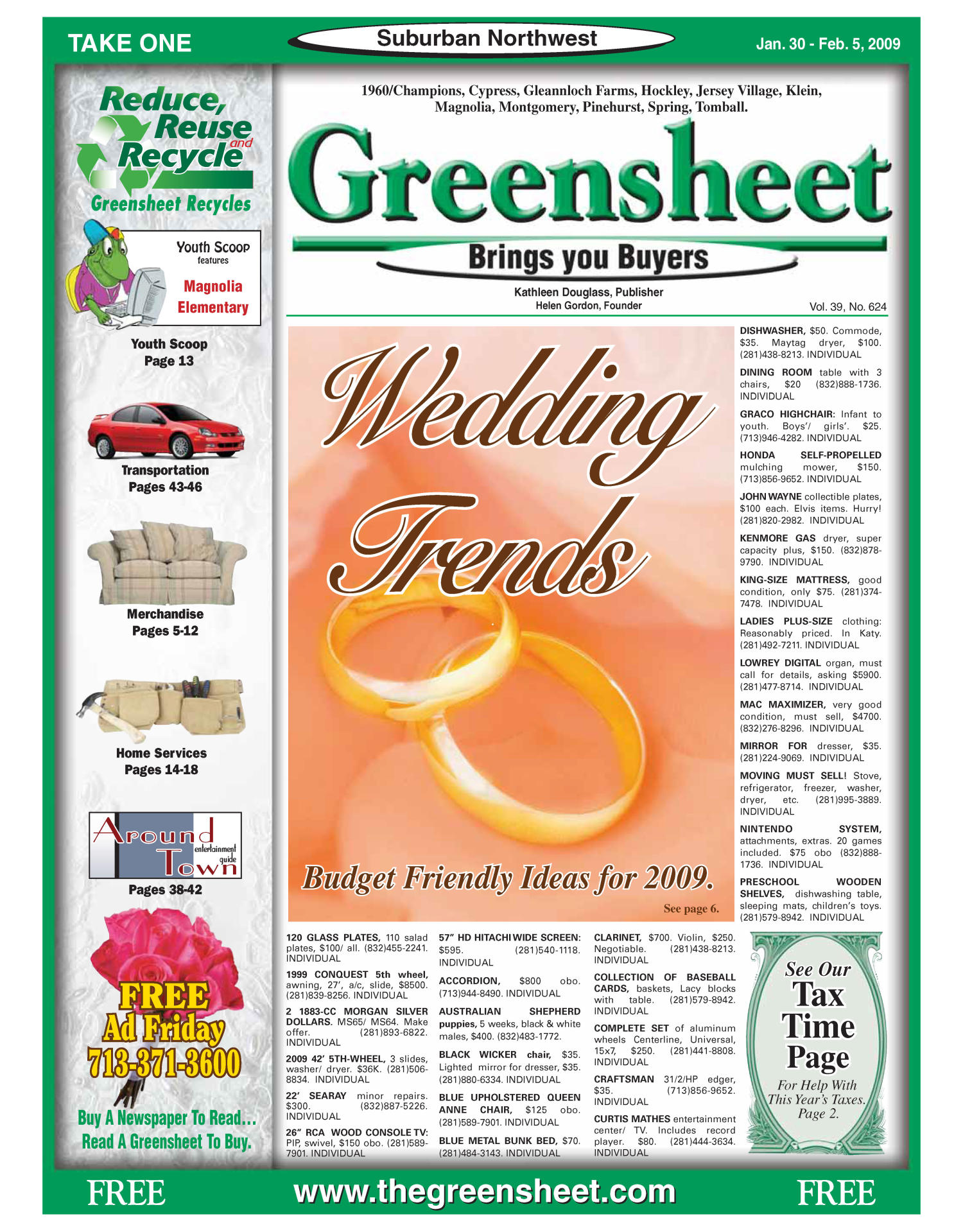 Greensheet (Houston, Tex.), Vol. 39, No. 624, Ed. 1 Friday, January 30, 2009                                                                                                      [Sequence #]: 1 of 48