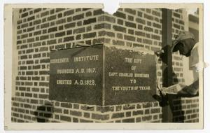 Primary view of object titled 'the Admin. Building (Weir) Cornerstone, Schreiner Institute, Founded 1917, Erected 1928'.