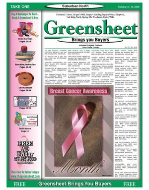 Primary view of object titled 'Greensheet (Houston, Tex.), Vol. 37, No. 414, Ed. 1 Wednesday, October 4, 2006'.
