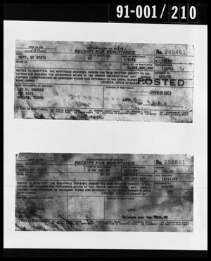 Primary view of object titled '[Photograph of Two Receipts Removed from Oswald's Property]'.