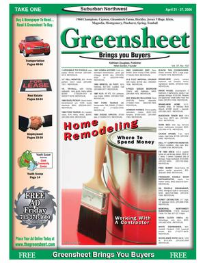 Primary view of object titled 'Greensheet (Houston, Tex.), Vol. 37, No. 132, Ed. 1 Friday, April 21, 2006'.