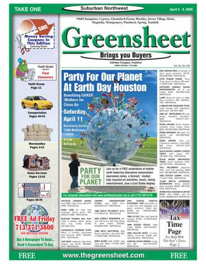 Primary view of object titled 'Greensheet (Houston, Tex.), Vol. 40, No. 108, Ed. 1 Friday, April 3, 2009'.