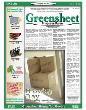 Primary view of object titled 'Greensheet (Dallas, Tex.), Vol. 29, No. 93, Ed. 1 Wednesday, July 13, 2005'.