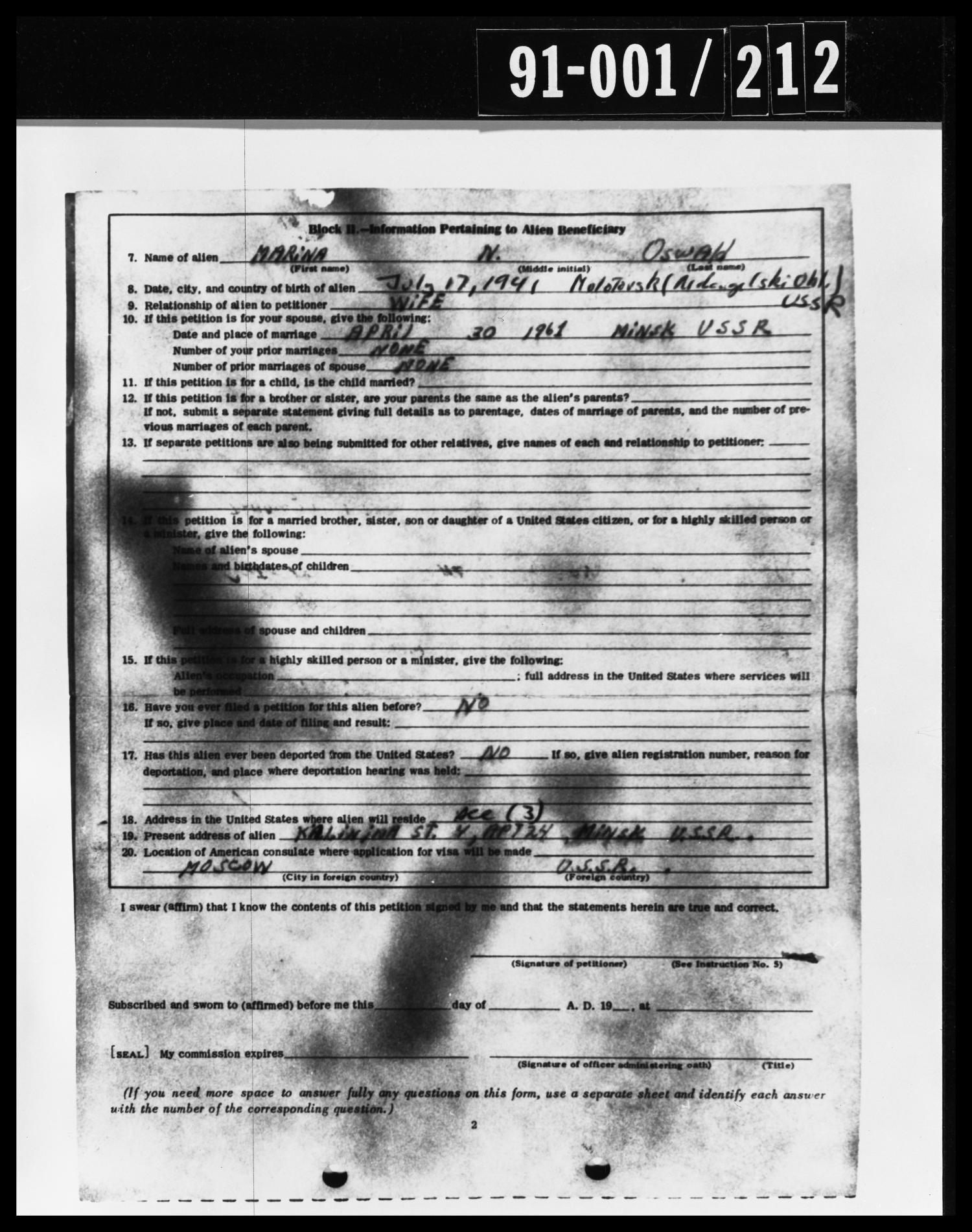 Alien Beneficiary Document from Oswald's Home                                                                                                      [Sequence #]: 1 of 1