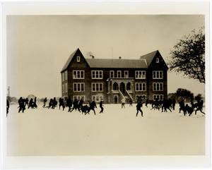 Primary view of object titled 'Snowball Fight in Front of Admin. Building (Weir)'.