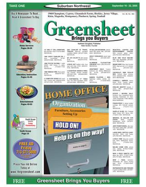 Primary view of object titled 'Greensheet (Houston, Tex.), Vol. 36, No. 384, Ed. 1 Friday, September 16, 2005'.