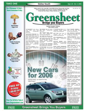 Primary view of object titled 'Greensheet (Dallas, Tex.), Vol. 29, No. 170, Ed. 1 Wednesday, September 28, 2005'.