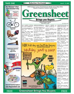 Primary view of object titled 'Greensheet (Houston, Tex.), Vol. 38, No. 216, Ed. 1 Friday, June 8, 2007'.