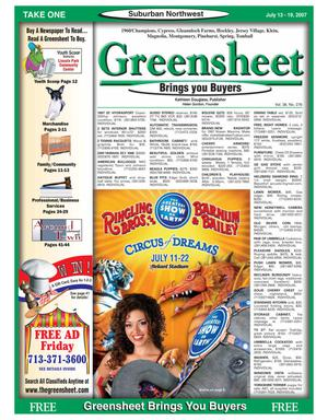 Primary view of object titled 'Greensheet (Houston, Tex.), Vol. 38, No. 276, Ed. 1 Friday, July 13, 2007'.