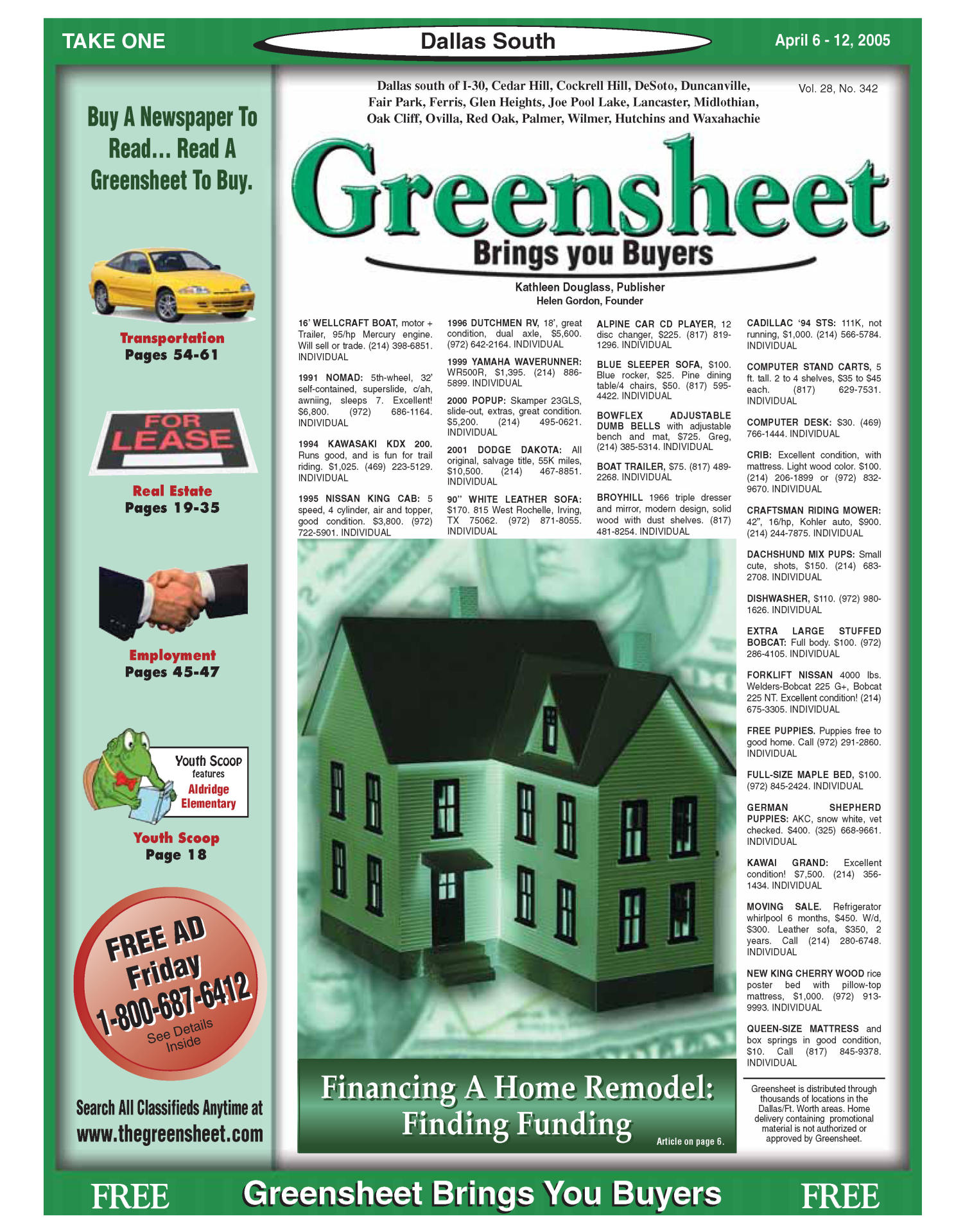 Greensheet (Dallas, Tex.), Vol. 28, No. 342, Ed. 1 Wednesday, April 6, 2005                                                                                                      [Sequence #]: 1 of 64