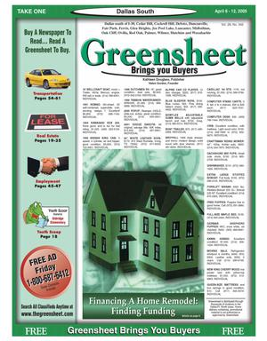 Primary view of object titled 'Greensheet (Dallas, Tex.), Vol. 28, No. 342, Ed. 1 Wednesday, April 6, 2005'.