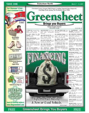 Primary view of object titled 'Greensheet (Houston, Tex.), Vol. 38, No. 54, Ed. 1 Wednesday, March 7, 2007'.