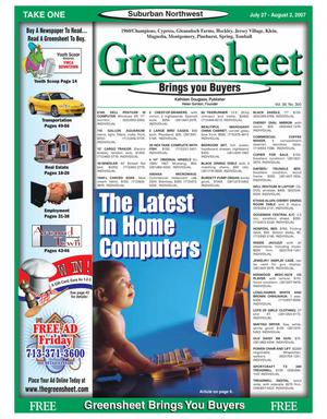 Primary view of object titled 'Greensheet (Houston, Tex.), Vol. 38, No. 300, Ed. 1 Friday, July 27, 2007'.