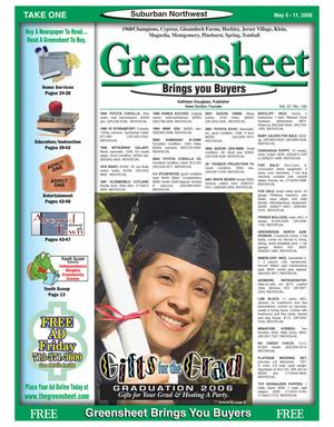 Primary view of object titled 'Greensheet (Houston, Tex.), Vol. 37, No. 156, Ed. 1 Friday, May 5, 2006'.