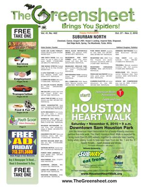 Primary view of object titled 'The Greensheet (Houston, Tex.), Vol. 41, No. 462, Ed. 1 Wednesday, October 27, 2010'.