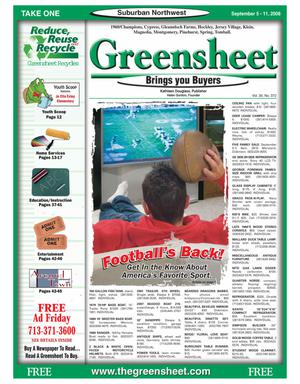 Primary view of object titled 'Greensheet (Houston, Tex.), Vol. 39, No. 372, Ed. 1 Friday, September 5, 2008'.