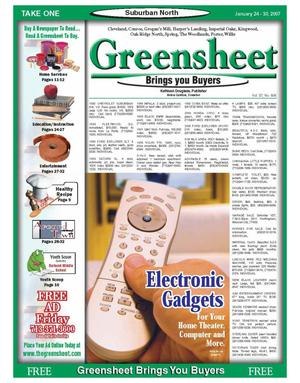 Primary view of object titled 'Greensheet (Houston, Tex.), Vol. 37, No. 606, Ed. 1 Wednesday, January 24, 2007'.