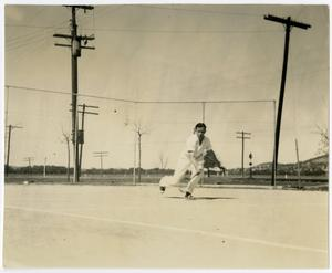 Primary view of object titled '1936 Schreiner Tennis Player on the Court, Running Hit.'.