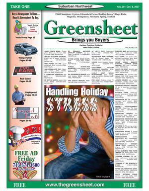 Primary view of object titled 'Greensheet (Houston, Tex.), Vol. 38, No. 516, Ed. 1 Friday, November 30, 2007'.