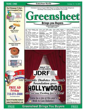 Primary view of object titled 'Greensheet (Houston, Tex.), Vol. 38, No. 426, Ed. 1 Wednesday, October 10, 2007'.