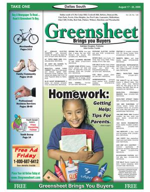 Primary view of object titled 'Greensheet (Dallas, Tex.), Vol. 29, No. 128, Ed. 1 Wednesday, August 17, 2005'.