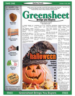 Primary view of object titled 'Greensheet (Dallas, Tex.), Vol. 29, No. 191, Ed. 1 Wednesday, October 19, 2005'.
