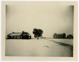 Primary view of object titled 'Hoon, Administration (Weir), and Moody in the Snow'.