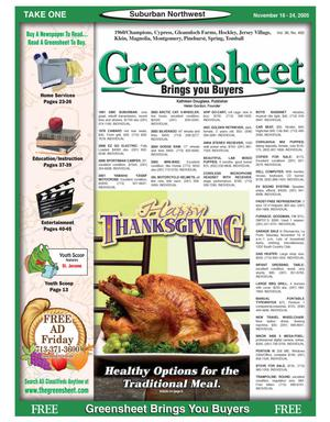 Primary view of object titled 'Greensheet (Houston, Tex.), Vol. 36, No. 492, Ed. 1 Friday, November 18, 2005'.