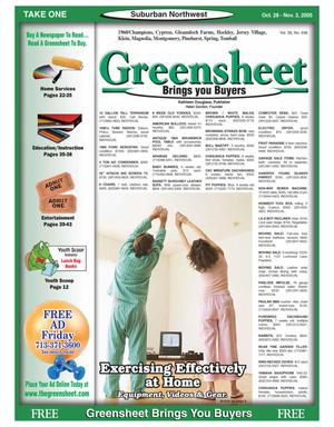 Primary view of object titled 'Greensheet (Houston, Tex.), Vol. 36, No. 456, Ed. 1 Friday, October 28, 2005'.