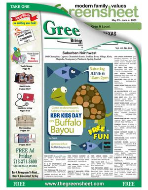 Primary view of object titled 'Greensheet (Houston, Tex.), Vol. 40, No. 204, Ed. 1 Friday, May 29, 2009'.