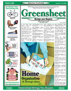 Primary view of object titled 'Greensheet (Houston, Tex.), Vol. 37, No. 600, Ed. 1 Friday, January 19, 2007'.