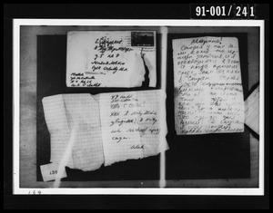 Primary view of object titled 'Handwritten Documents Removed from Oswald's Home'.
