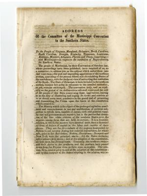 Primary view of object titled 'Address of the Committee of the Mississippi convention to the southern states.'.