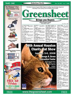 Primary view of object titled 'Greensheet (Houston, Tex.), Vol. 38, No. 558, Ed. 1 Wednesday, December 26, 2007'.