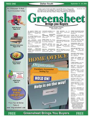 Primary view of object titled 'Greensheet (Dallas, Tex.), Vol. 29, No. 156, Ed. 1 Wednesday, September 14, 2005'.