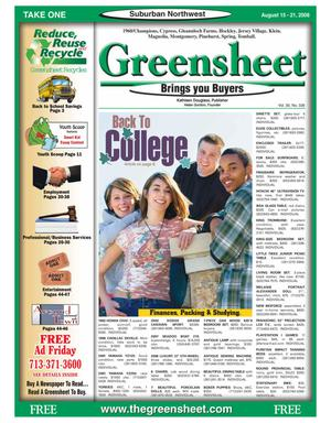 Primary view of object titled 'Greensheet (Houston, Tex.), Vol. 39, No. 336, Ed. 1 Friday, August 15, 2008'.