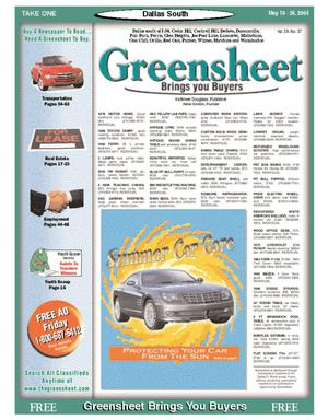 Primary view of object titled 'Greensheet (Dallas, Tex.), Vol. 29, No. 37, Ed. 1 Wednesday, May 18, 2005'.