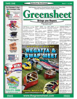 Primary view of object titled 'Greensheet (Houston, Tex.), Vol. 39, No. 60, Ed. 1 Friday, March 7, 2008'.