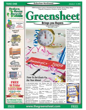Primary view of object titled 'Greensheet (Houston, Tex.), Vol. 39, No. 576, Ed. 1 Friday, January 2, 2009'.