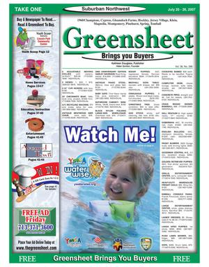 Primary view of object titled 'Greensheet (Houston, Tex.), Vol. 38, No. 288, Ed. 1 Friday, July 20, 2007'.