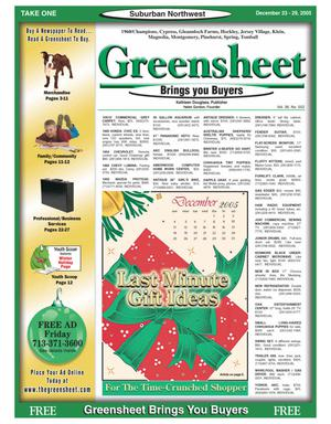 Primary view of object titled 'Greensheet (Houston, Tex.), Vol. 36, No. 552, Ed. 1 Friday, December 23, 2005'.