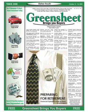 Primary view of object titled 'Greensheet (Dallas, Tex.), Vol. 29, No. 184, Ed. 1 Wednesday, October 12, 2005'.