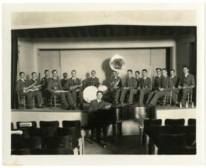 Primary view of object titled 'Schreiner Band on the Auditorium Stage with Piano and Pianist'.