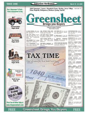 Primary view of object titled 'Greensheet (Houston, Tex.), Vol. 36, No. 72, Ed. 1 Friday, March 18, 2005'.
