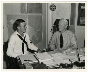 Primary view of object titled 'Admiral Chester W. Nimitz and James F. Cherry Meet in the Pacific During WWII'.