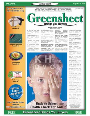 Primary view of object titled 'Greensheet (Dallas, Tex.), Vol. 29, No. 114, Ed. 1 Wednesday, August 3, 2005'.