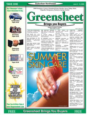 Primary view of object titled 'Greensheet (Houston, Tex.), Vol. 37, No. 216, Ed. 1 Friday, June 9, 2006'.